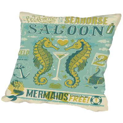 Sea Horse Saloon Throw Pillow Size: 16 H x 16 W x 2 D