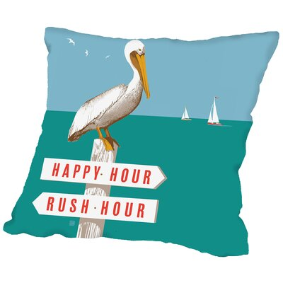 Rush Hour Happy Hour Pelican Throw Pillow Size: 14