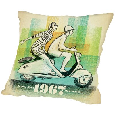Scooter Girls Throw Pillow Size: 16 H x 16 W x 2 D