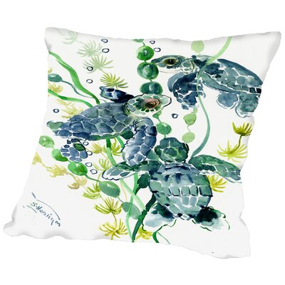 Thee Sea Turtles Throw Pillow Size: 14 H x 14 W x 2 D