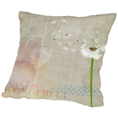 Vintage Sheet Dandelion Throw Pillow Size: 16 H x 16 W x 2 D