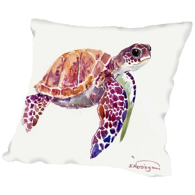 Sea Turtle Throw Pillow Size: 14 H x 14 W x 2 D