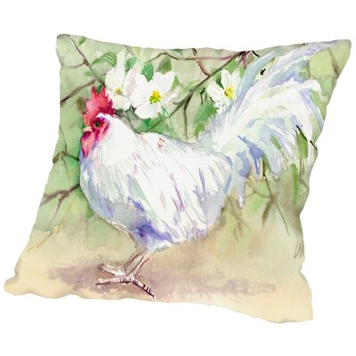 White Rooster Throw Pillow Size: 18 H x 18 W x 2 D