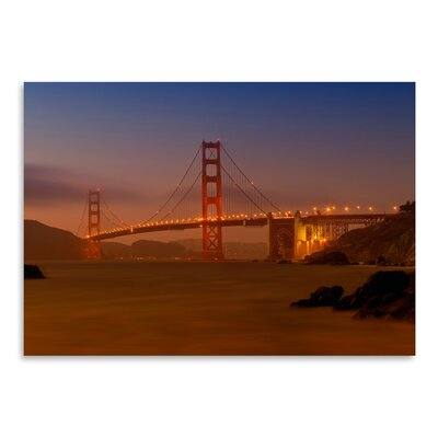 "Golden Gate Bridge at Sunset Photographic Print Size: 12"" H x 16"" W ESHM7611 34332008"