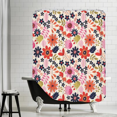 Valentine Floral Shower Curtain Color: White