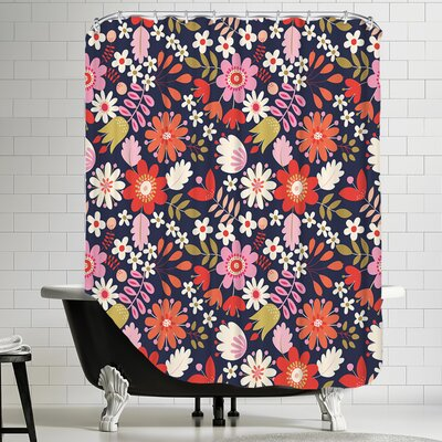 Valentine Floral Shower Curtain Color: Dark