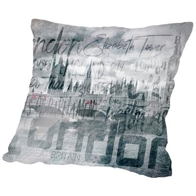 Urban-Art London Houses of Parliament & Red Buses Throw Pillow Size: 14 H x 14 W x 2 D