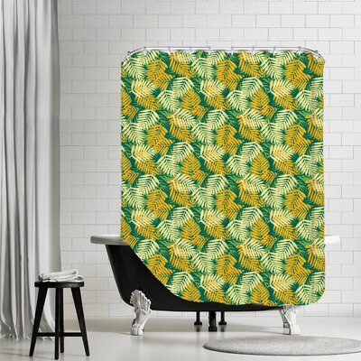 Tropical Fern Shower Curtain Color: Green