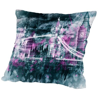 Modern Art London Tower Bridge & Big Ben Composing Throw Pillow Size: 16 H x 16 W x 2 D