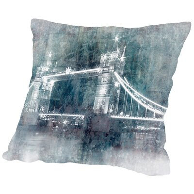 Digital Art Tower Bridge at Night Throw Pillow Size: 16 H x 16 W x 2 D