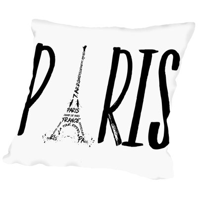 Paris Typography Throw Pillow Size: 18 H x 18 W x 2 D