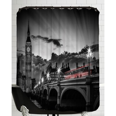 London Westminster Bridge with Bus at Sunset Shower Curtain