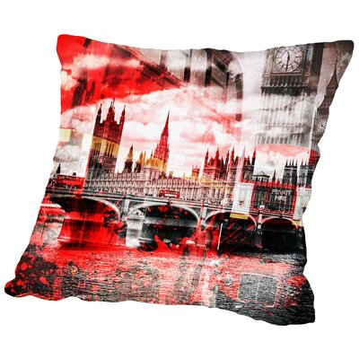City Art London Red Bus Composing Throw Pillow Size: 16 H x 16 W x 2 D