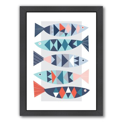 Geo Fish Framed Graphic Art Size: 16.5 H x 13.5 W x 1.5 D
