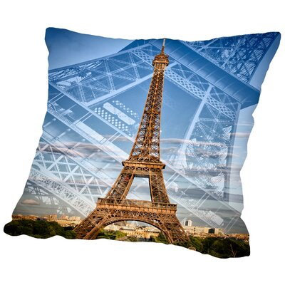 Eiffel Tower Double Exposure II Throw Pillow Size: 18 H x 18 W x 2 D