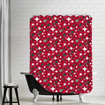 Holiday Stars Shower Curtain Color: Red
