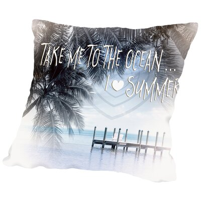 Text Art I Love Summer Throw Pillow Size: 18 H x 18 W x 2 D