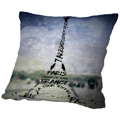 Paris Art Eiffel Tower No.1 Throw Pillow Size: 18 H x 18 W x 2 D