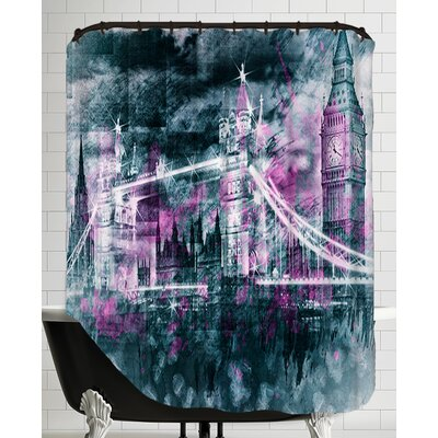 Modern Art London Tower Bridge and Big Ben Composing Shower Curtain