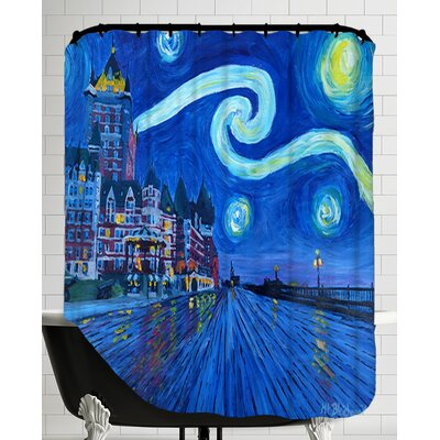 Starry Night Quebec Chateau Frontenac Van Gogh Inspirations Shower Curtain