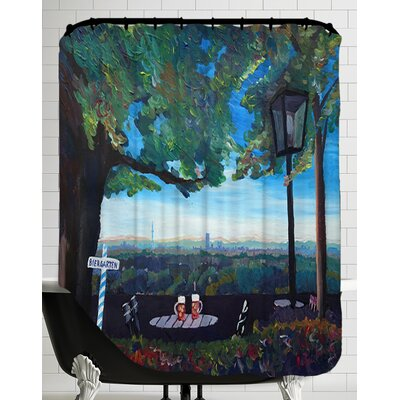Munich View Beer Garden Skyline Alps Shower Curtain