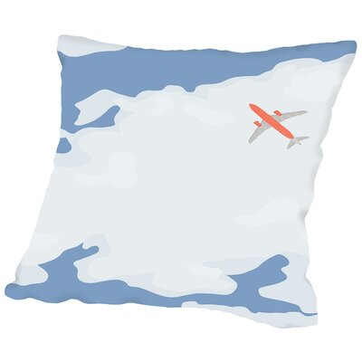 Sky with Plane Throw Pillow Size: 16 H x 16 W x 2 D