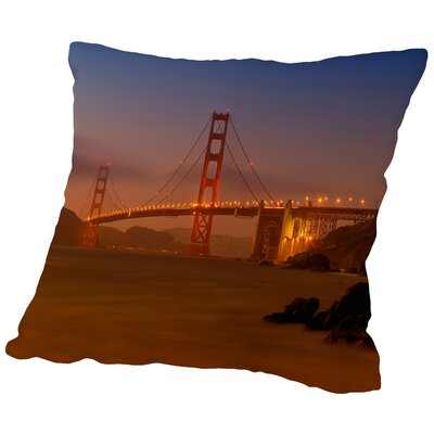 Golden Gate Bridge at Sunset Throw Pillow Size: 14 H x 14 W x 2 D