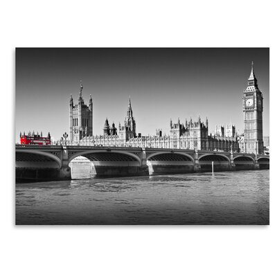"London Red Bus on Westminster Bridge Photographic Print Size: 12"" H x 16"" W ESHM8389 34335385"