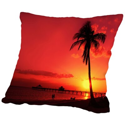 Romantic Sunset Throw Pillow Size: 14 H x 14 W x 2 D