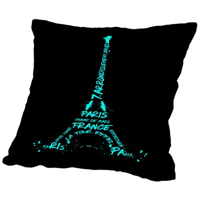 Digital Art Eiffel Tower Throw Pillow Size: 16 H x 16 W x 2 D, Color: Cyan/Black