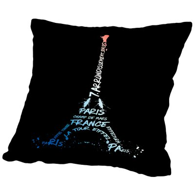 Digital Art Eiffel Tower Throw Pillow Size: 14 H x 14 W x 2 D, Color: White/Blue/Black