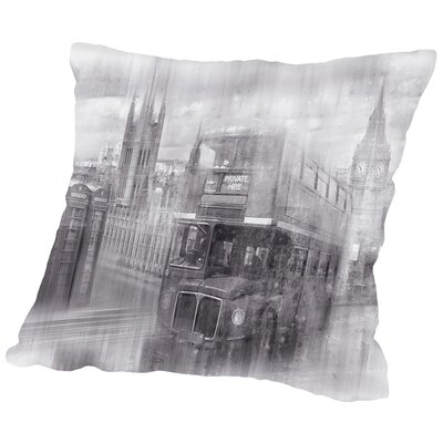 City Art London Westminster Collage Monochrome Throw Pillow Size: 14 H x 14 W x 2 D
