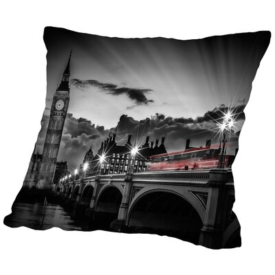 London Westminster Bridge with Bus at Sunset Throw Pillow Size: 14 H x 14 W x 2 D