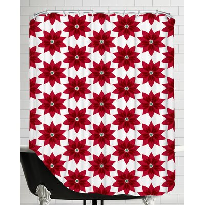 Holiday Poinsettia Shower Curtain