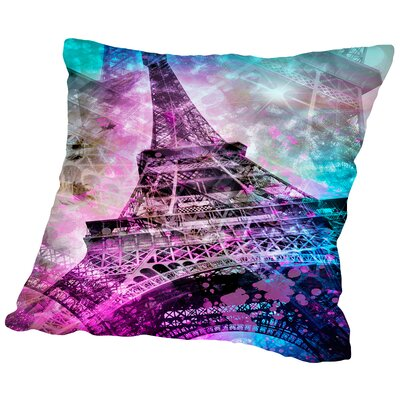 Pop Art Paris Eiffel Tower Throw Pillow Size: 14 H x 14 W x 2 D
