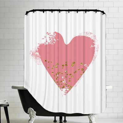 Heart Shower Curtain Color: Pink
