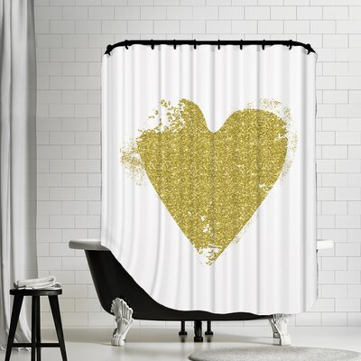 Heart Shower Curtain Color: Gold