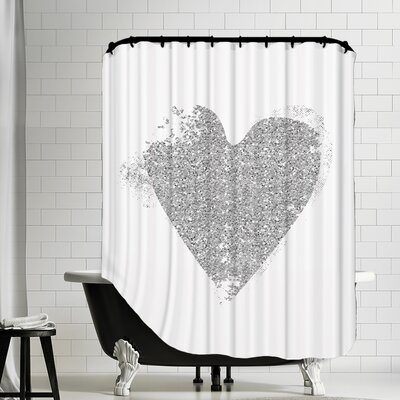 Heart Shower Curtain Color: Silver