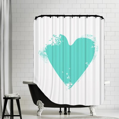 Heart Shower Curtain Color: Aqua