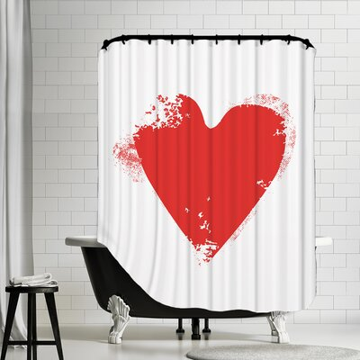Heart Shower Curtain Color: Red