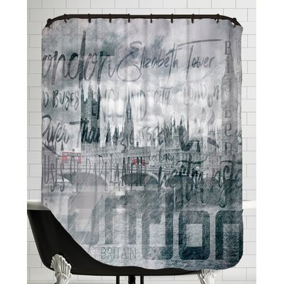 Urban-Art London Houses of Parliament and Red Buses Shower Curtain