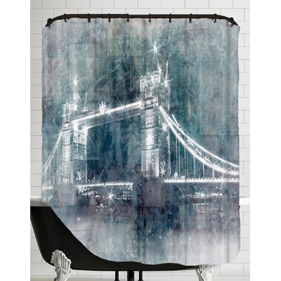 Digital Art Tower Bridge at Night Shower Curtain