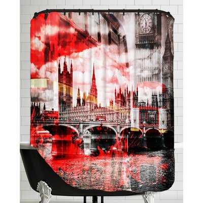 City Art London Red Bus Composing Shower Curtain