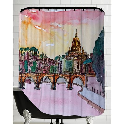 Vatican Rome Italy Sunset on River Tiber with St Peter I Shower Curtain