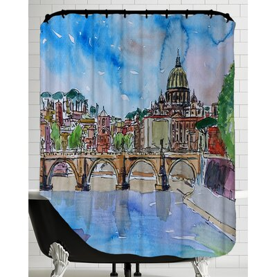Vatican Rome Italy Blue on River Tiber with St Peter II Shower Curtain