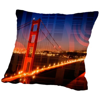 Golden Gate Bridge Geometric Mix No.1 Throw Pillow Size: 18 H x 18 W x 2 D