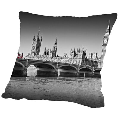 London Red Bus on Westminster Bridge Throw Pillow Size: 16 H x 16 W x 2 D