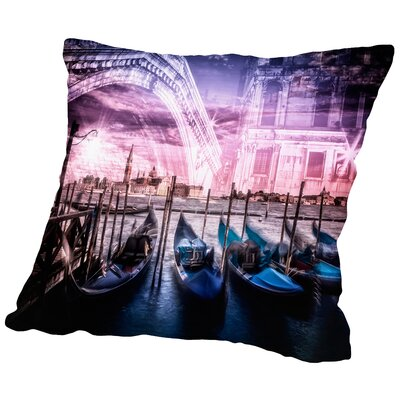 City Art Venice Gondola & Rialto Bridge Throw Pillow Size: 18 H x 18 W x 2 D