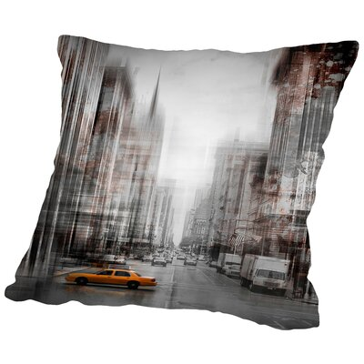City-Art NYC 5th Avenue Yellow Cab Throw Pillow