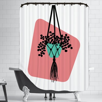 Modern Botanicals Hanging Plant Shower Curtain
